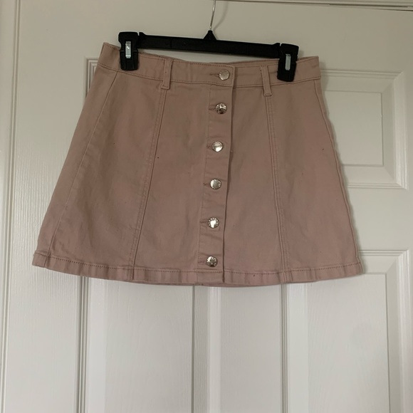 Pastel pink high waisted button up mini skirt
